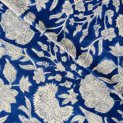Pure Cotton Jaipuri Blue With White Wild Flower Jaal Hand Block Print Fabric