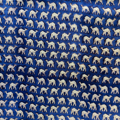 Pure Cotton Jaipuri Blue With tiny Camel Hand Block Print Fabric