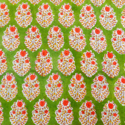 Pure Cotton Jaipuri Green With Pink Flower Plant Motif Hand Block Print Fabric