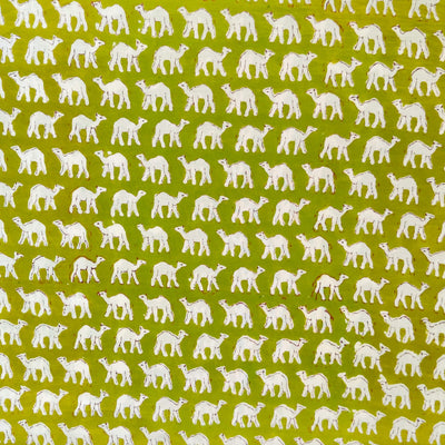 Pure Cotton Jaipuri Green With Tiny Camel Hand Block Print Fabric