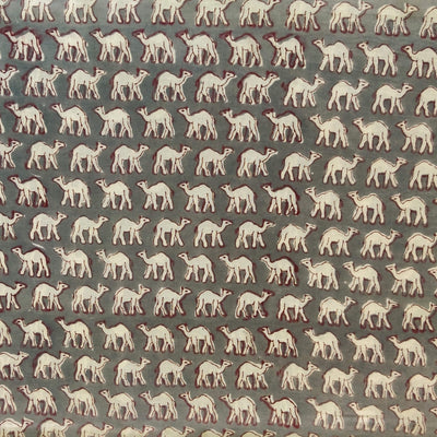 Pure Cotton Jaipuri Grey With Tiny Camel Hand Block Print Fabric