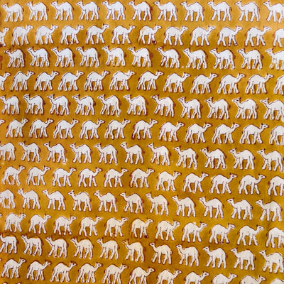 Pure Cotton Jaipuri Mustard With Tiny Camel Hand Block Print Fabric