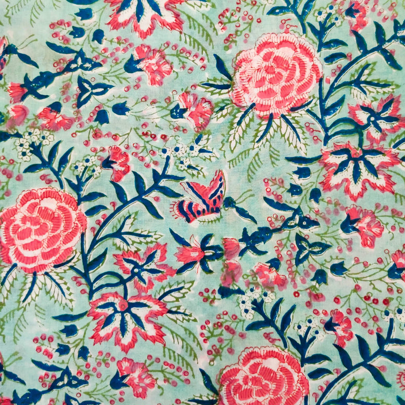 Pure Cotton Jaipuri Pastel Blue With Pink Wild Flower Jaal Hand Block Print Fabric