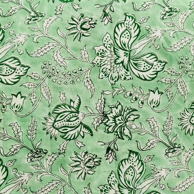 Pure Cotton Jaipuri Pastel Green With Wild Flower Hand Block Print Fabric