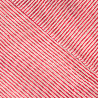 Pure Cotton Jaipuri Pink Stripes Hand Block Print Fabric