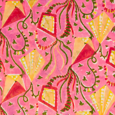 Pure Cotton Jaipuri Pink With Yellow Kites Hand Block Print Fabric