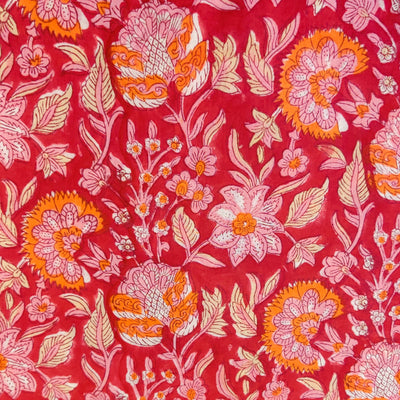 Pure Cotton Jaipuri Pinkish Red With Orange And Baby Pink Wild Flower Jaal Hand Block Print Fabric