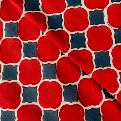 Pure Cotton Jaipuri Red And Grey Blue Tile Hand Block Print Fabric