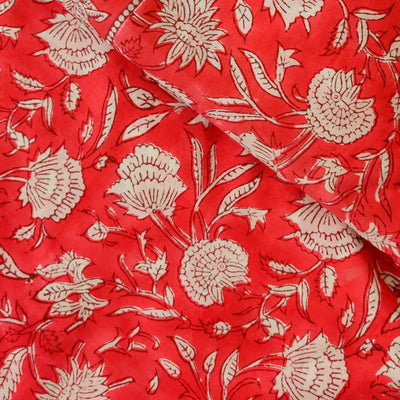 Pure Cotton Jaipuri Red With Flower Jaal Hand Block Print Fabric