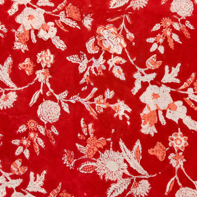 Pure Cotton Jaipuri Red With Peach And White Jaal Hand Block Print Fabric
