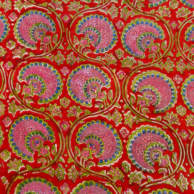 Pure Cotton Jaipuri Red With Pink And Blue Dahlia Jaal Hand Block Print Fabric