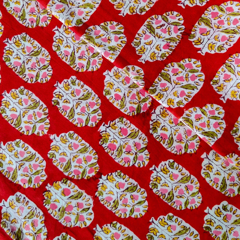 Pure Cotton Jaipuri Red With Pink Dot Flower Plant Hand Block Print Fabric