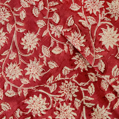 Pure Cotton Jaipuri Reddish Mauve With Wild Flower Jaal Hand Block Print Fabric