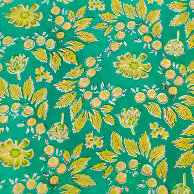 Pure Cotton Jaipuri Sea Blue With Wild Berries Jaal Hand Block Print Blouse Fabric ( 95 Cm )