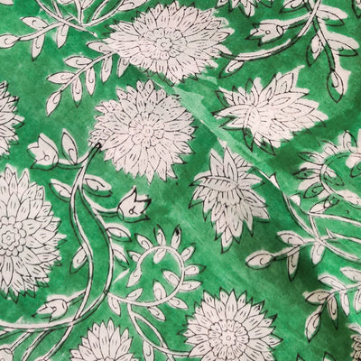 Pure Cotton Jaipuri Seafoam Green With White Flower Jaal Hand Block Print Fabric