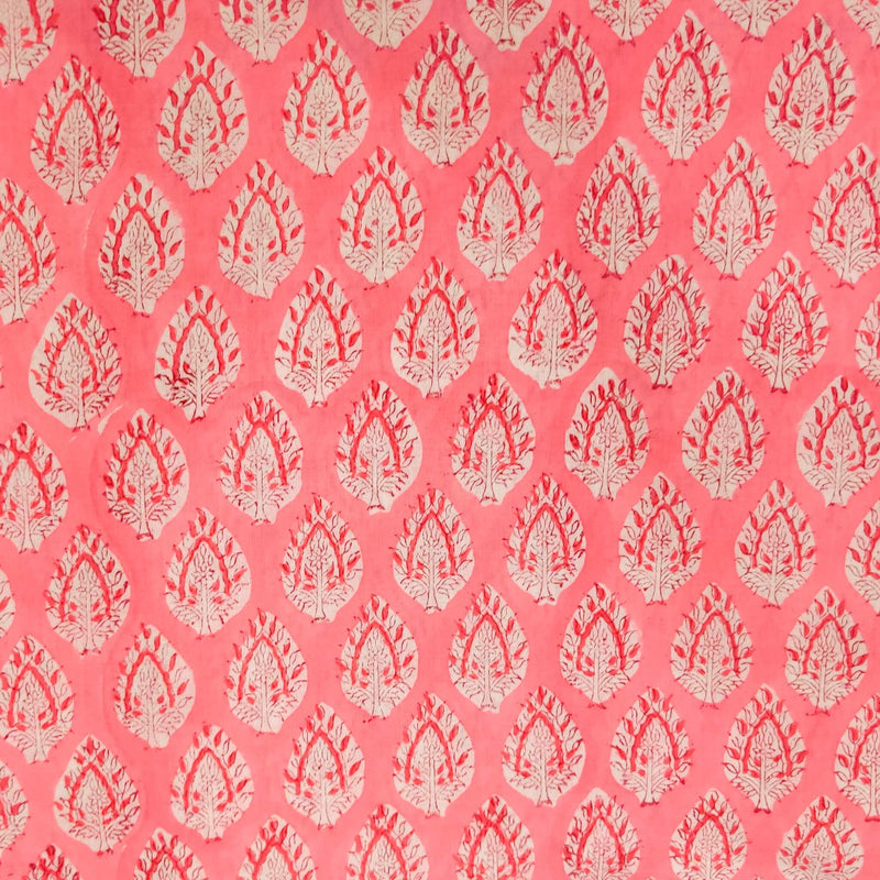Pure Cotton Jaipuri Soft Pink With An Intricate Motif Hand Block Print Blouse Piece Fabric ( 90 cm )