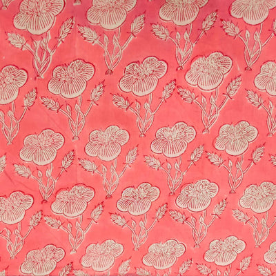 Pure Cotton Jaipuri Soft Pink With An Wild Rose Motif Hand Block Print Blouse Piece Fabric ( 80 cm )