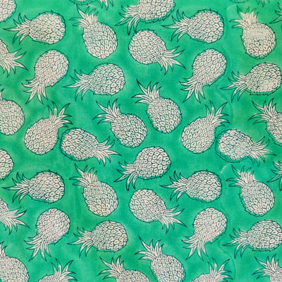Pure Cotton Jaipuri Turqoise With Pineapple Hand Block Print Fabric