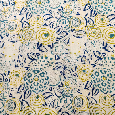 Pure Cotton Jaipuri White With Blue And Green Abstarct Flower Hand Block Print Fabric