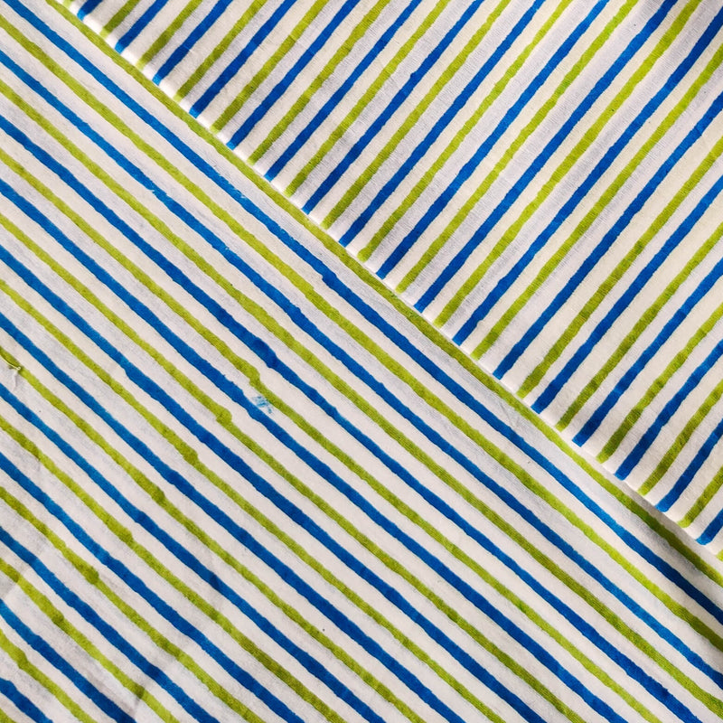 Pure Cotton Jaipuri White With Blue And Green Stripes Hand Block Print Fabrics