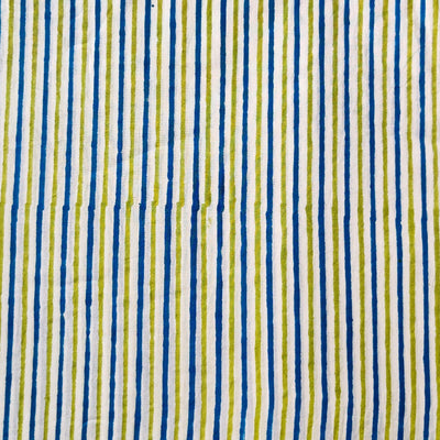 Pure Cotton Jaipuri White With Blue And Green Stripes Hand Block Print blouse Fabrics ( 80 cm )