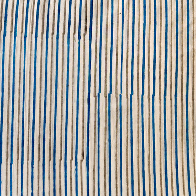 Pure Cotton Jaipuri White With Blue And Grey Stripes Hand Block Print Fabrics