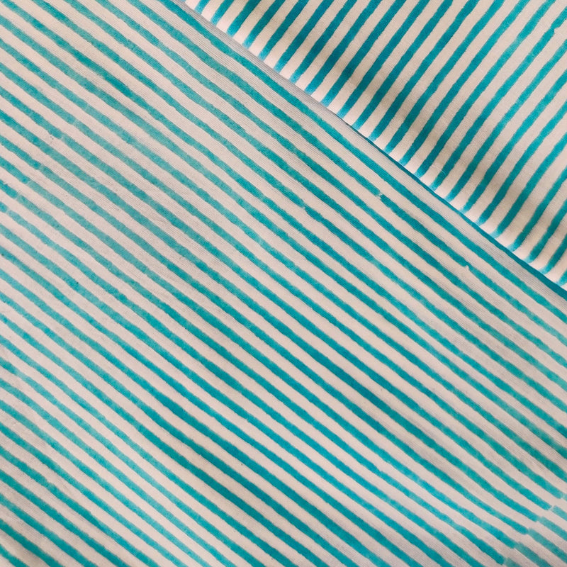 Pure Cotton Jaipuri White With Blue Stripes Fabric