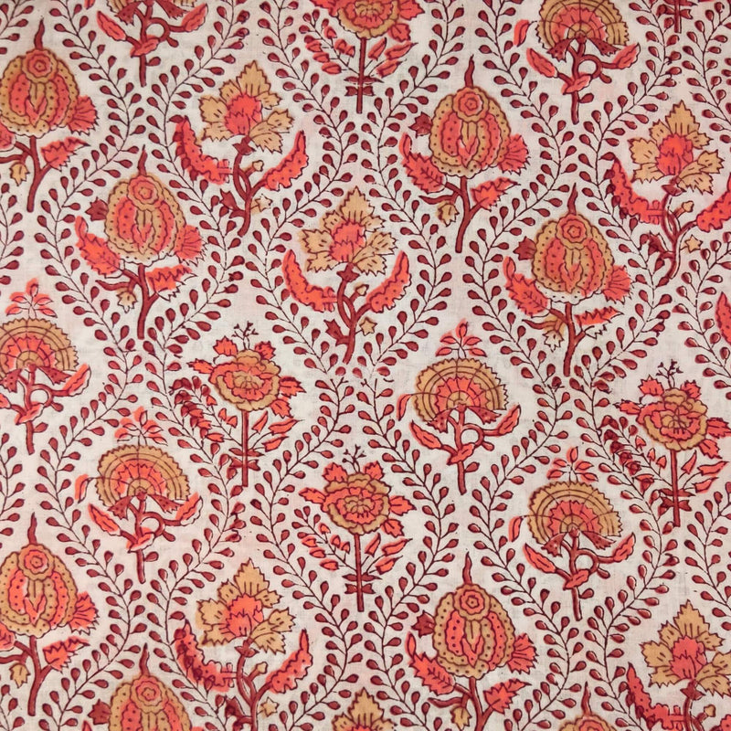 Pure Cotton Jaipuri White With Creeper Blobs And Peach Flower Motif Hand Block Print  Fabric
