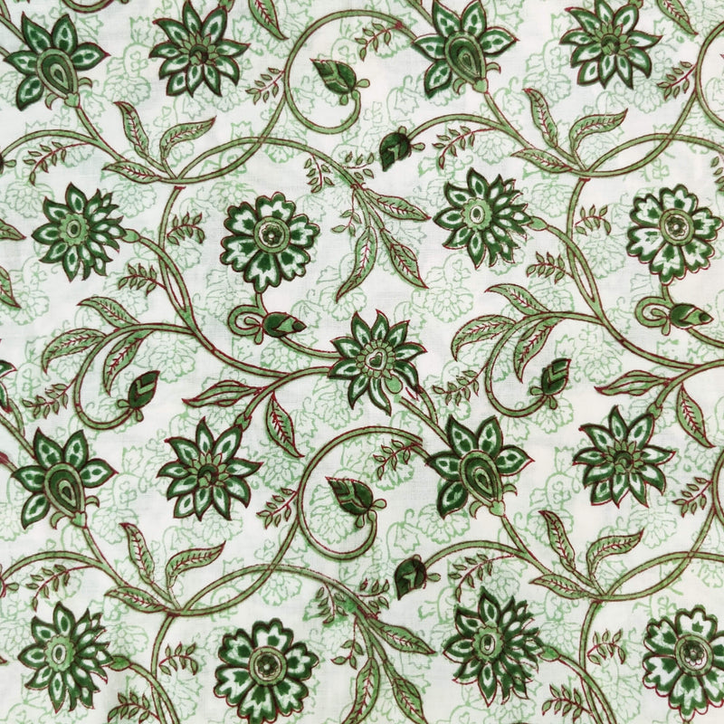 Pure Cotton Jaipuri White With Green Flower Jaal Hand Block Print Fabric