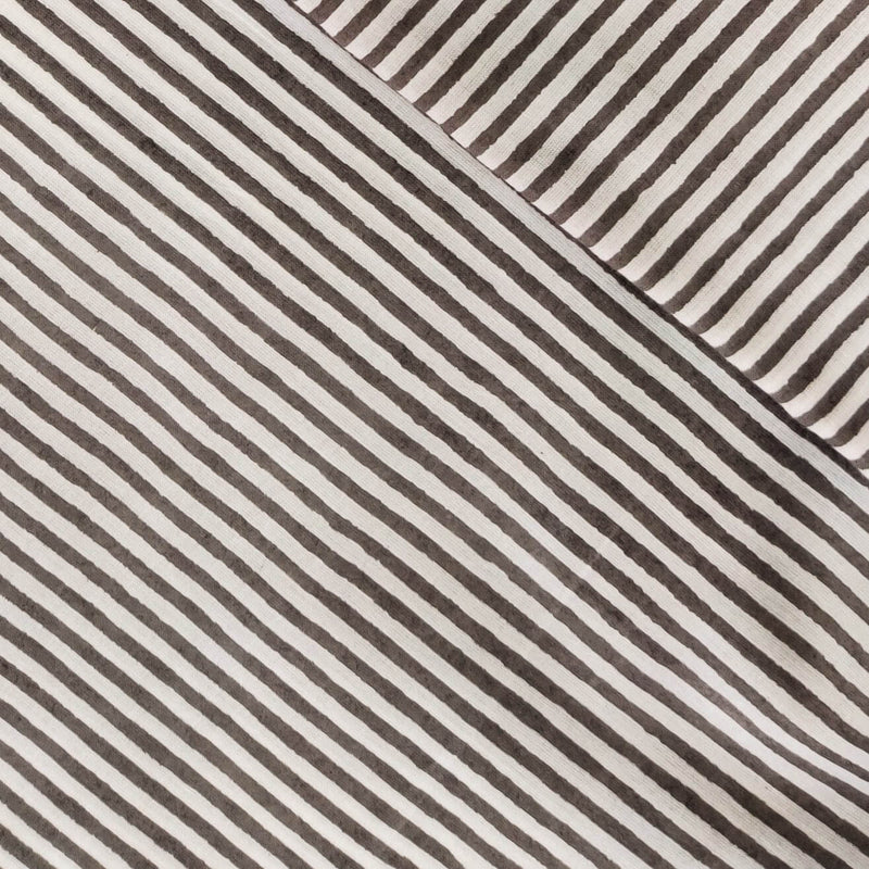 Pure Cotton Jaipuri White With Grey Stripes Fabric
