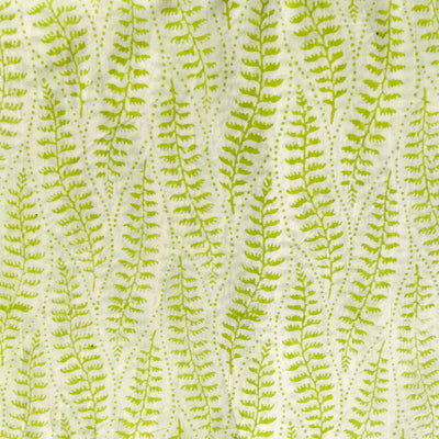 Pure Cotton Jaipuri White With Light Green Ferns Hand Block Print Fabric