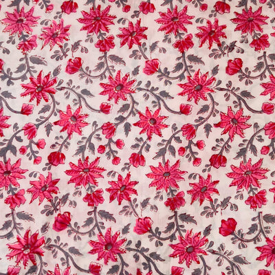Pure Cotton Jaipuri White With Pink And Grey Flower Jaal Hand Block Print blouse Fabric ( 85 cm )
