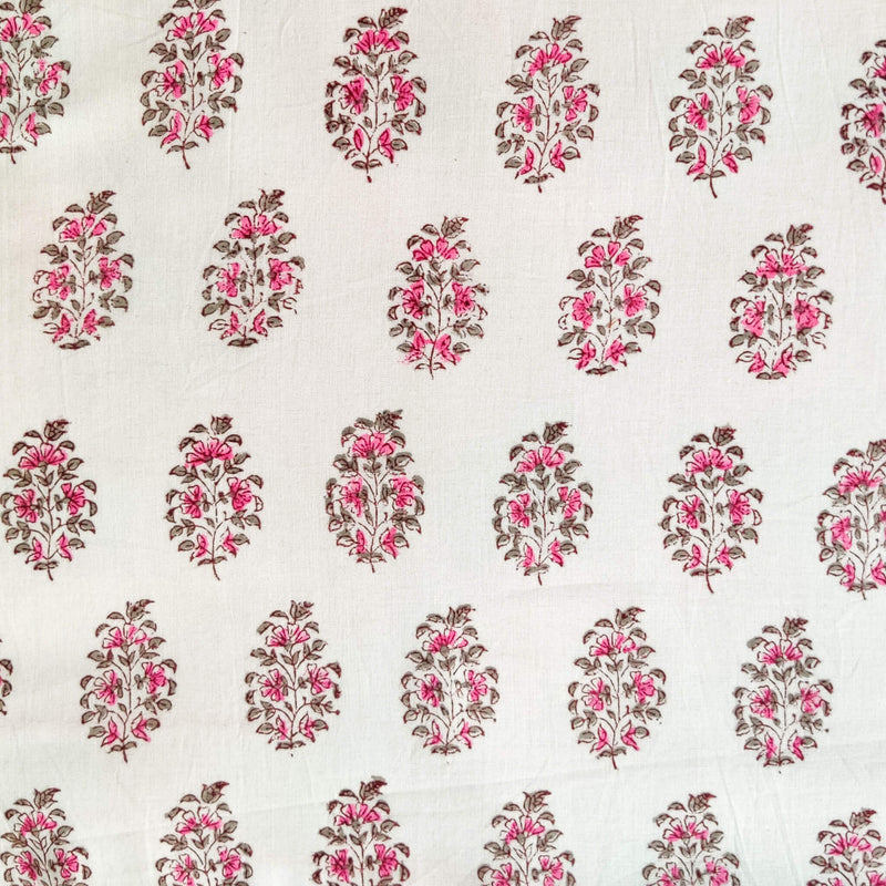 Pure Cotton Jaipuri White With Pink And Grey Tiny Plants Hand Block Print Fabric