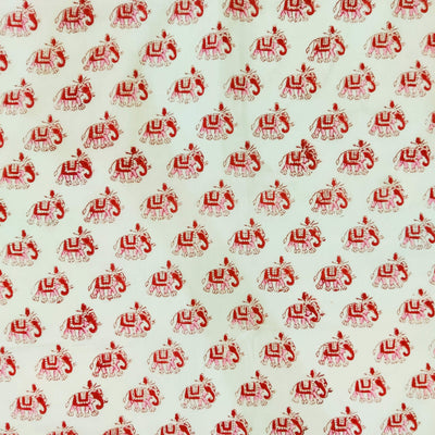 Pure Cotton Jaipuri White With Pink And Red Embellished Elephant Hand Block Print  Fabric