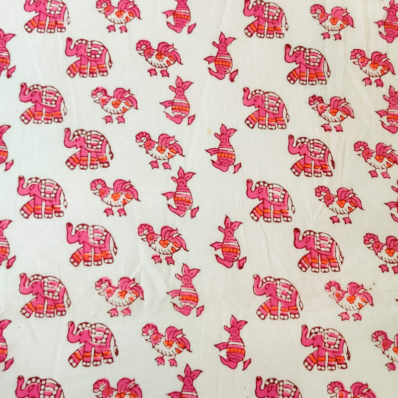Pure Cotton Jaipuri White With Pink Elephant And Penguin Hand Block Print Fabric