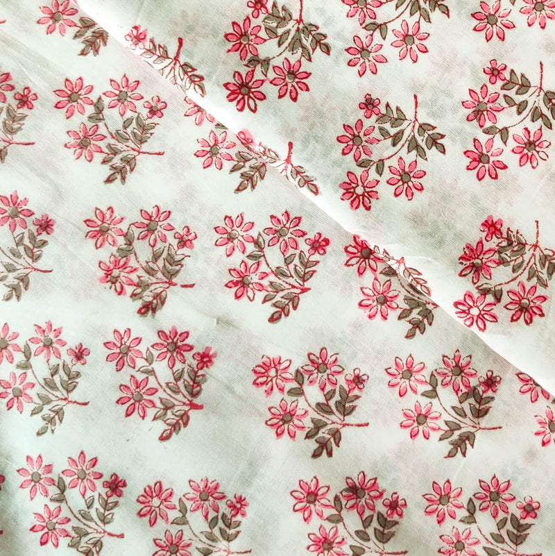 Pure Cotton Jaipuri White With Pink Flower Plant Hand Block Print Fabric