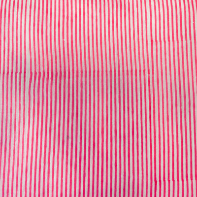 Pure Cotton Jaipuri White With Pink Stripes Fabric