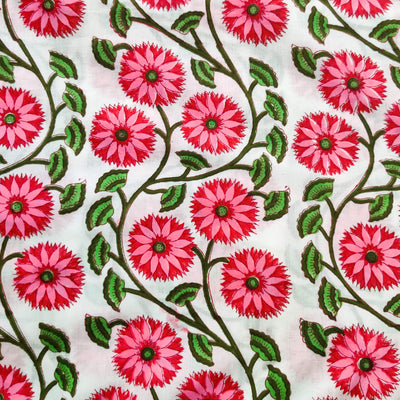 Pure Cotton Jaipuri White With Pinkish Flower Jaal Hand Block Print Fabric
