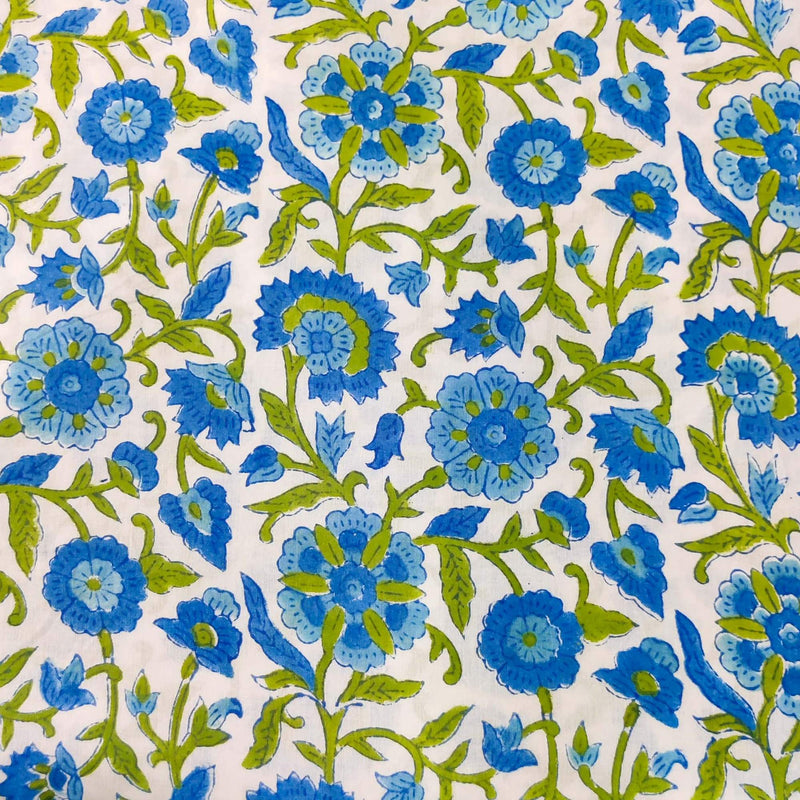 Pure Cotton Jaipuri White With Shades Of Blue Jaal Hand Block Print Blouse Fabric ( 90 Cm )