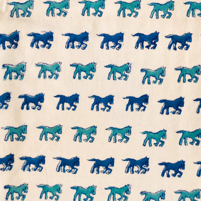 Pure Cotton Jaipuri White With Tiny Light And Dark Blue Horse Hand Block Print Fabric