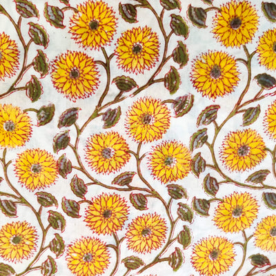 Pure Cotton Jaipuri White With Yellow Flower Jaal Hand Block Print Fabric
