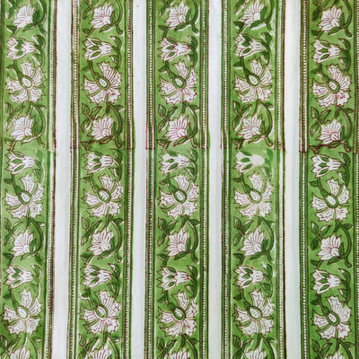Pure Cotton Jaipuri With Green Border Stripes Hand Block Print Fabric