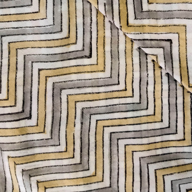 Pure Cotton Jaipuri With Grey And Sandy Mustard Zig Zag Hand Block Print Fabric