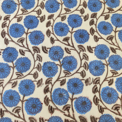 Pure Cotton Jaipuri With Jordy Blue Dahlia Jaal Hand Block Print Fabric