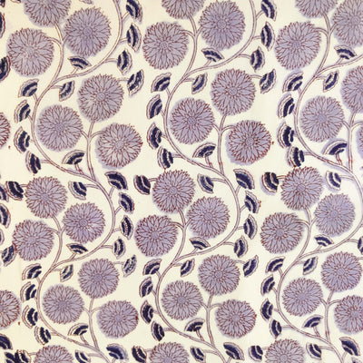 Pure Cotton Jaipuri With Lavender Dahlia Jaal Hand Block Print Fabric