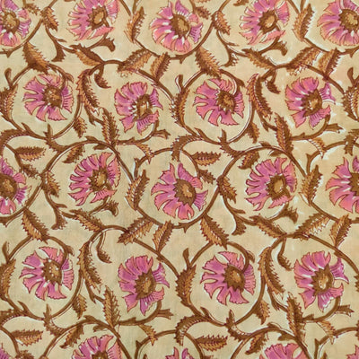 Pure Cotton Jaipuri With Pastel Pinkish Purple Flower Jaal Hand Block Print Blouse Piece Fabric ( 1 Meter )