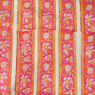 Pure Cotton Jaipuri With Pink Yellow Border Stripes Hand Block Print Fabric