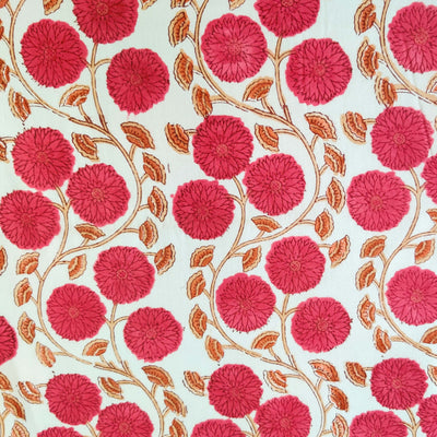 Pure Cotton Jaipuri With Pinkish Red Dahlia Jaal Hand Block Print Fabric