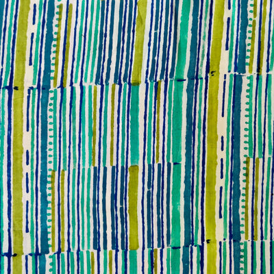 Pure Cotton Jaipuri With Shades of Blue And Green Lines Hand Block Print Fabric
