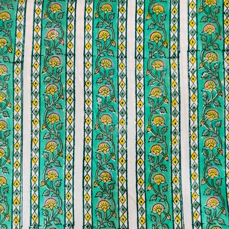 Pure Cotton Jaipuri With Teal Green Border Stripes Hand Block Print Fabric